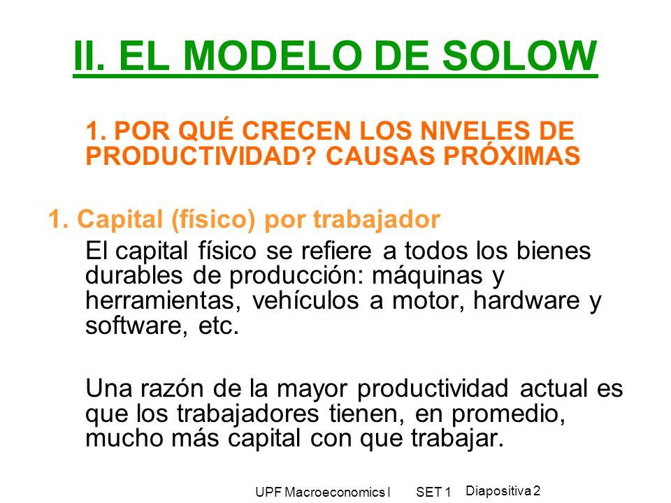 II. EL MODELO DE SOLOW 1. POR QUÉ CRECEN LOS NIVELES DE PRODUCTIVIDAD CAUSAS PRÓXIMAS. 1. Capital (físico) por trabajador.
