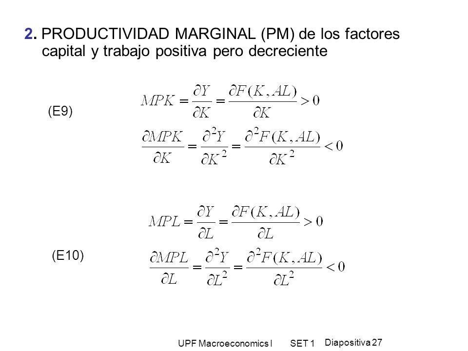2. PRODUCTIVIDAD MARGINAL (PM) de los factores capital y trabajo positiva pero decreciente