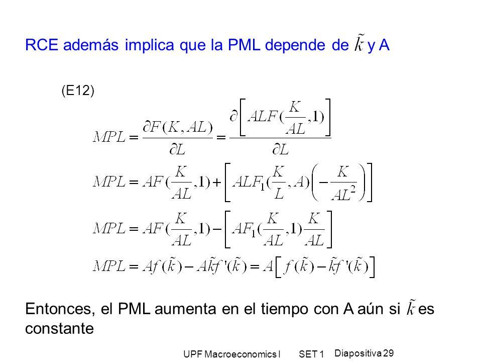 RCE además implica que la PML depende de y A