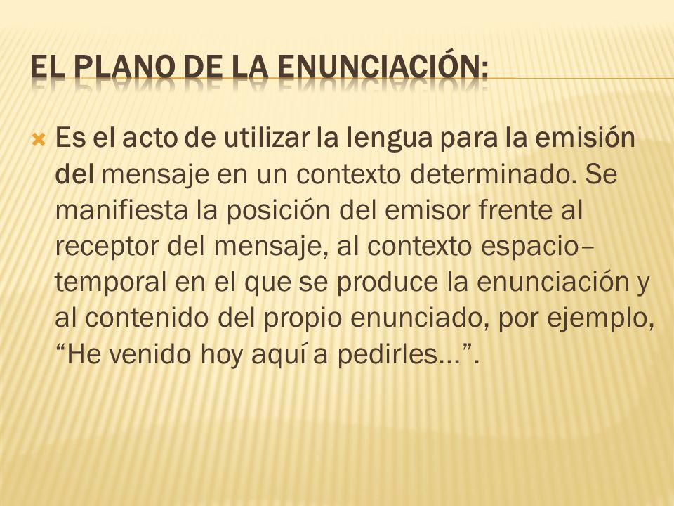 El Plano de la Enunciación: