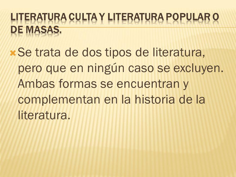 LITERATURA CULTA Y LITERATURA POPULAR O DE MASAS.