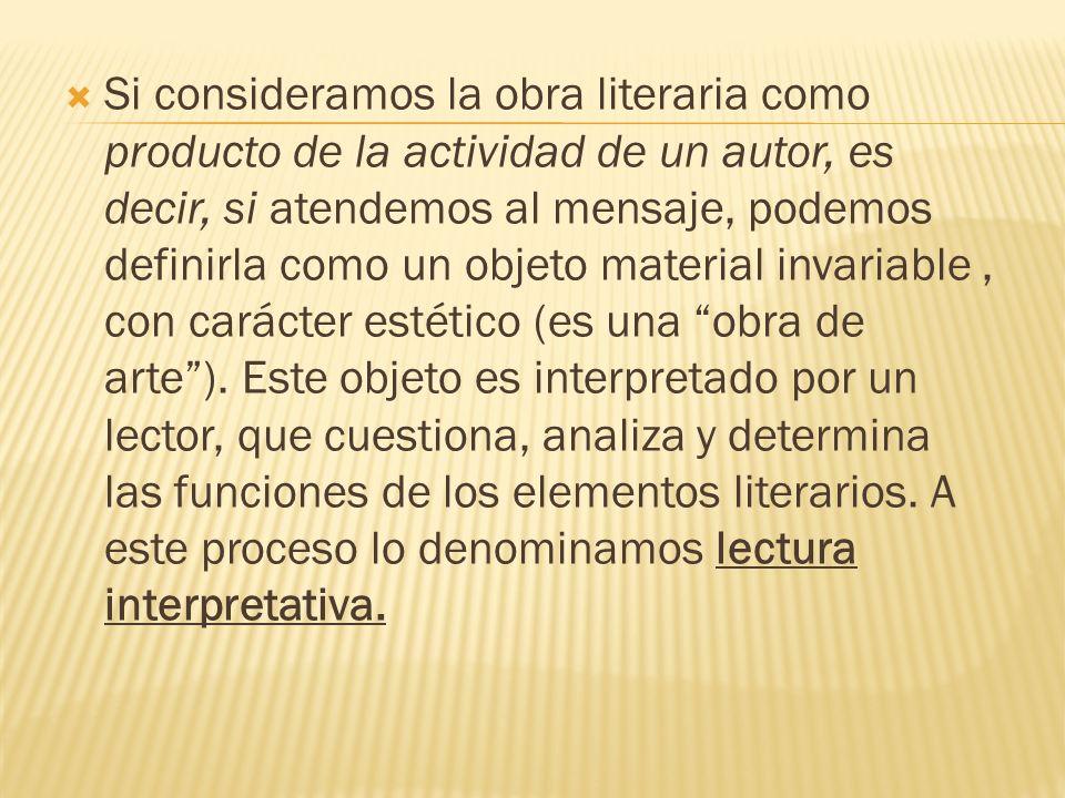 Si consideramos la obra literaria como producto de la actividad de un autor, es decir, si atendemos al mensaje, podemos definirla como un objeto material invariable , con carácter estético (es una obra de arte ).