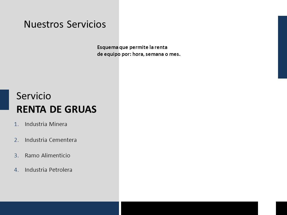Nuestros Servicios Servicio RENTA DE GRUAS Industria Minera