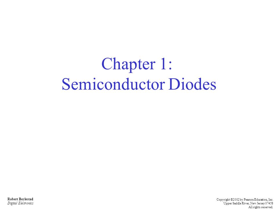 Chapter 1: Semiconductor Diodes