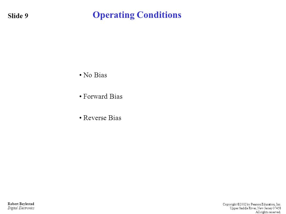 Operating Conditions Slide 9 • No Bias • Forward Bias • Reverse Bias