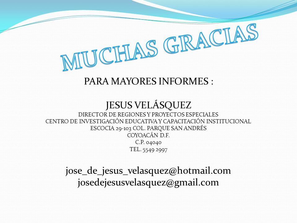 MUCHAS GRACIAS PARA MAYORES INFORMES : JESUS VELÁSQUEZ