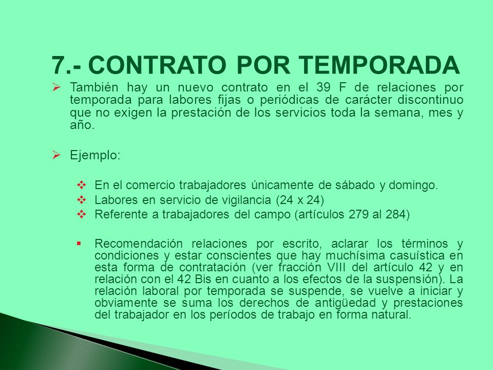 7.- CONTRATO POR TEMPORADA