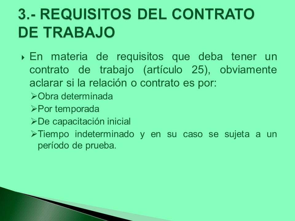 3.- REQUISITOS DEL CONTRATO DE TRABAJO