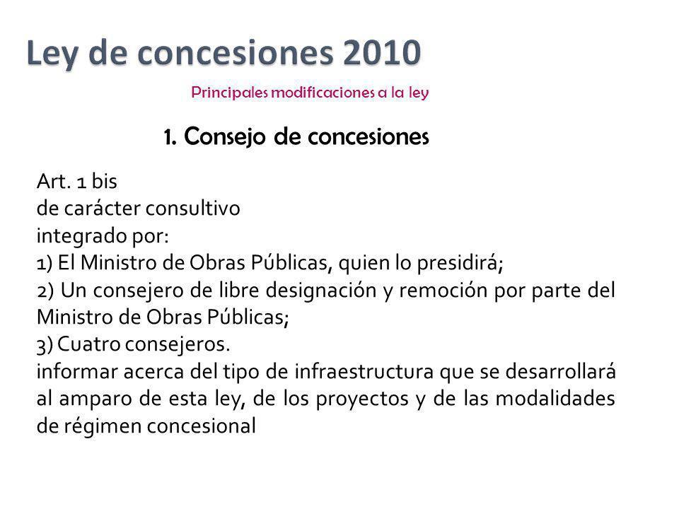 Ley de concesiones 2010 1. Consejo de concesiones Art. 1 bis