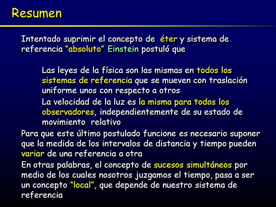 ResumenIntentado suprimir el concepto de éter y sistema de referencia absoluto Einstein postuló que.