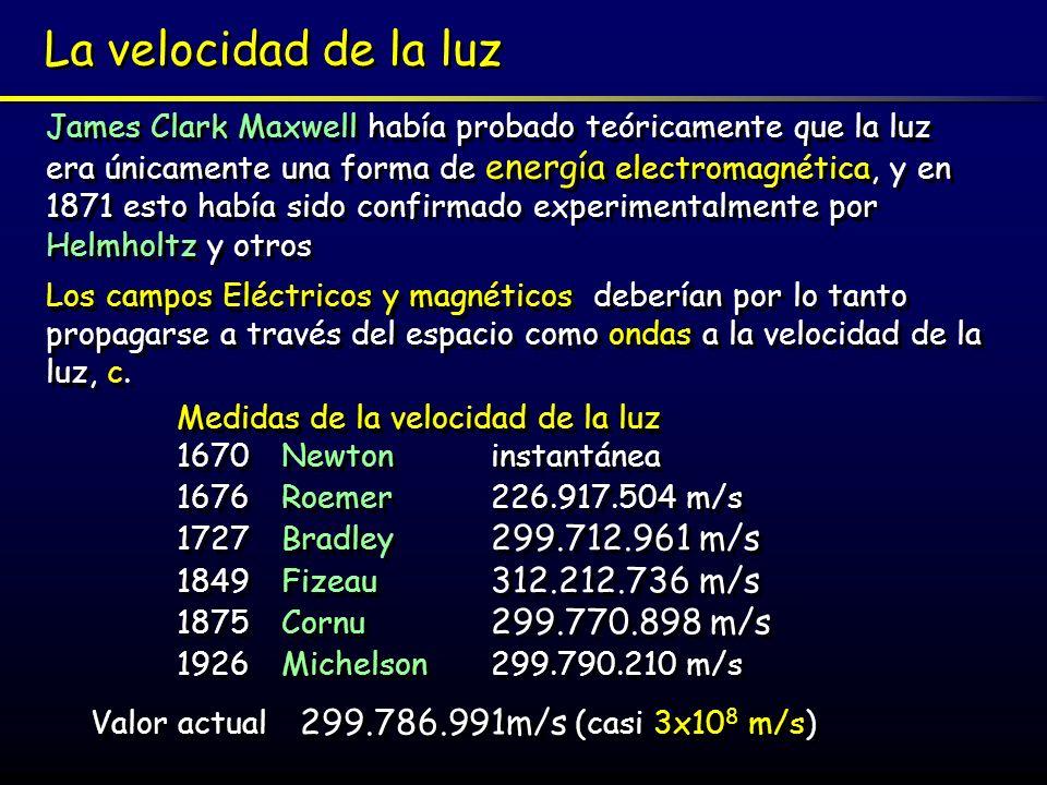 Valor actual 299.786.991m/s (casi 3x108 m/s)