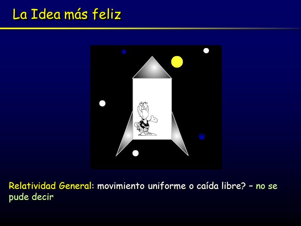 La Idea más feliz Relatividad General: movimiento uniforme o caída libre – no se pude decir