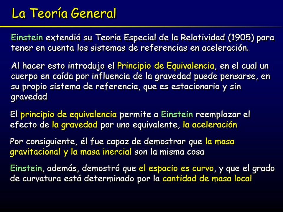 La Teoría GeneralEinstein extendió su Teoría Especial de la Relatividad (1905) para tener en cuenta los sistemas de referencias en aceleración.