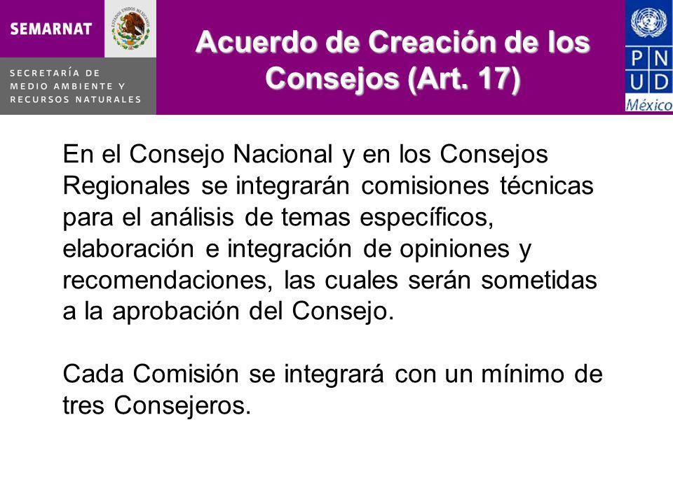 Acuerdo de Creación de los Consejos (Art. 17)