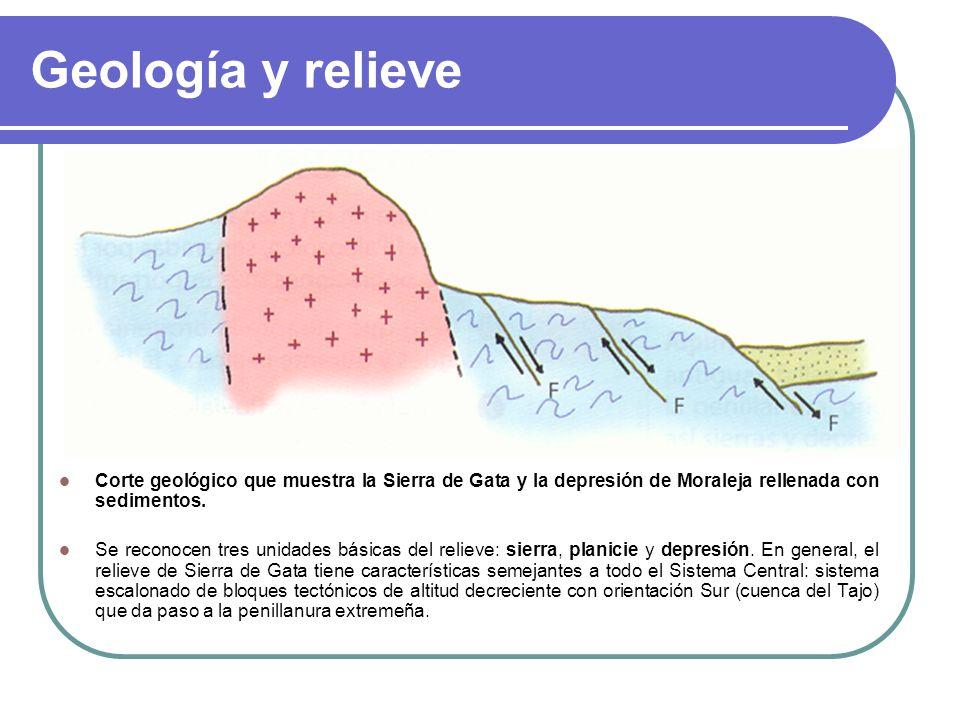 Geología y relieve Corte geológico que muestra la Sierra de Gata y la depresión de Moraleja rellenada con sedimentos.