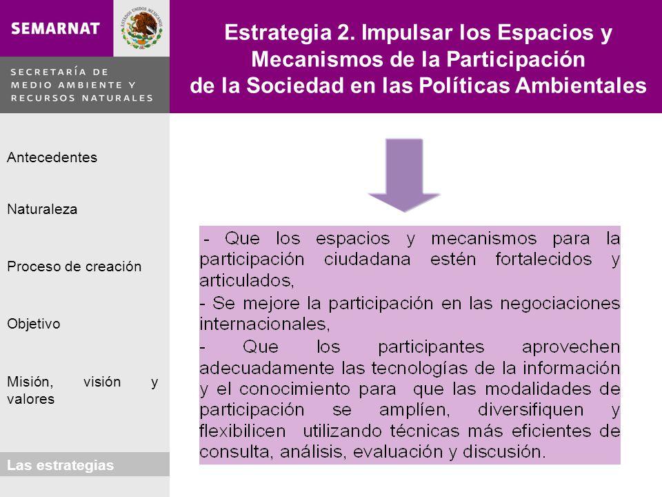 Estrategia 2. Impulsar los Espacios y Mecanismos de la Participación de la Sociedad en las Políticas Ambientales