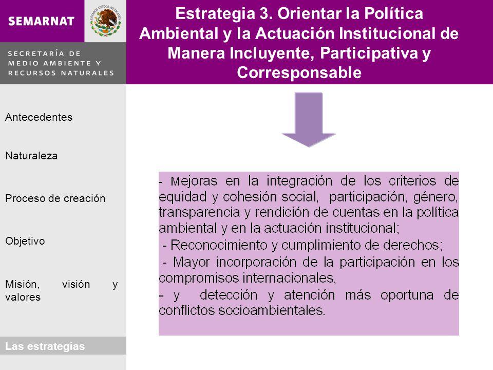 Estrategia 3. Orientar la Política Ambiental y la Actuación Institucional de Manera Incluyente, Participativa y Corresponsable