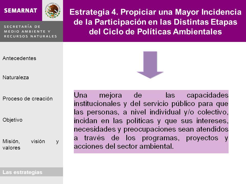 Estrategia 4. Propiciar una Mayor Incidencia de la Participación en las Distintas Etapas del Ciclo de Políticas Ambientales