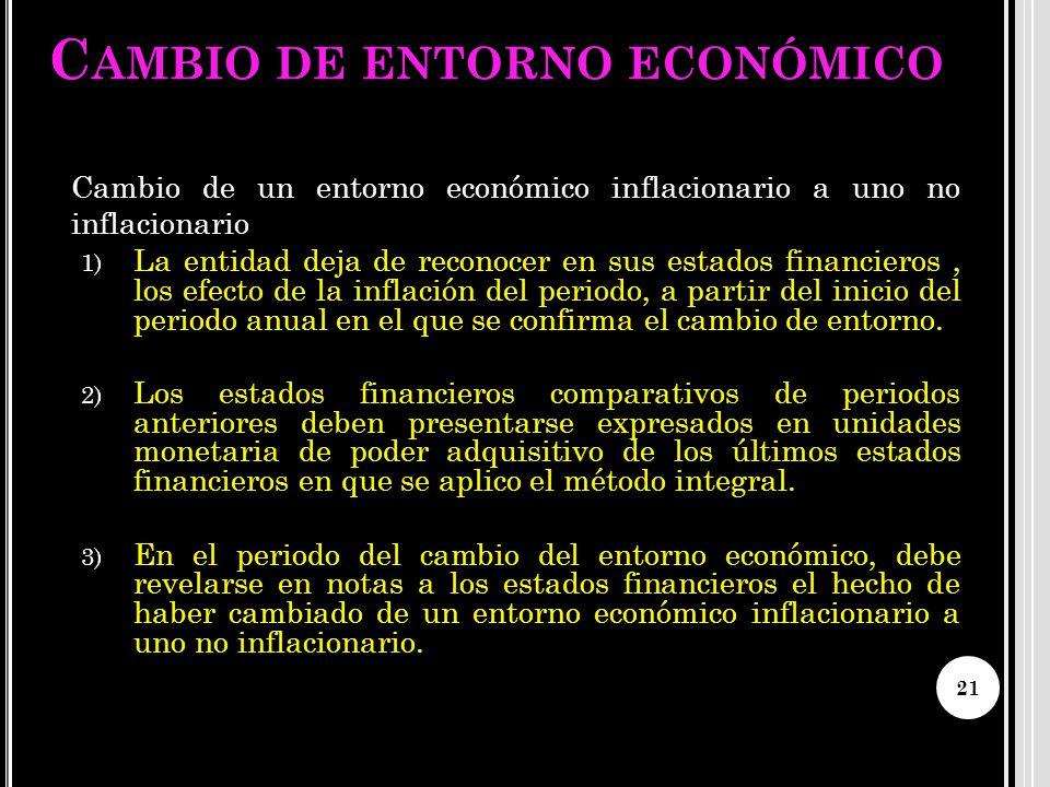 Cambio de entorno económico