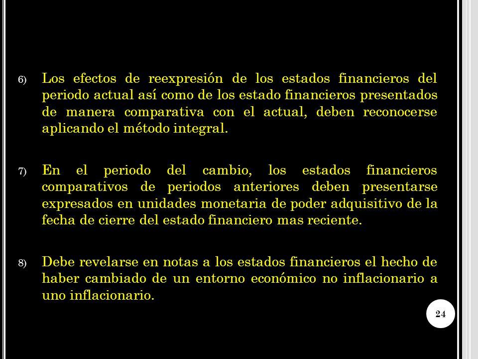 Los efectos de reexpresión de los estados financieros del periodo actual así como de los estado financieros presentados de manera comparativa con el actual, deben reconocerse aplicando el método integral.