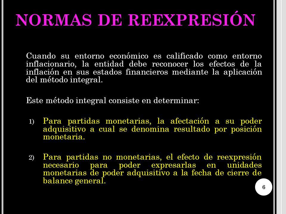 NORMAS DE REEXPRESIÓN Este método integral consiste en determinar: