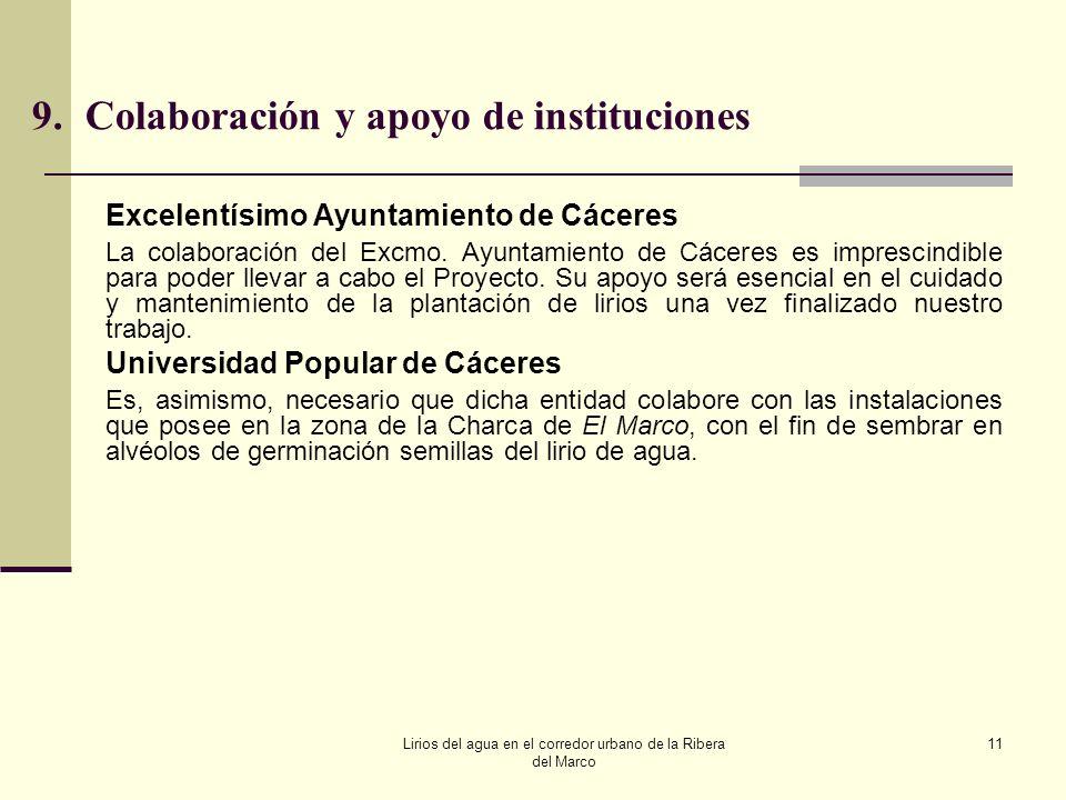 9. Colaboración y apoyo de instituciones