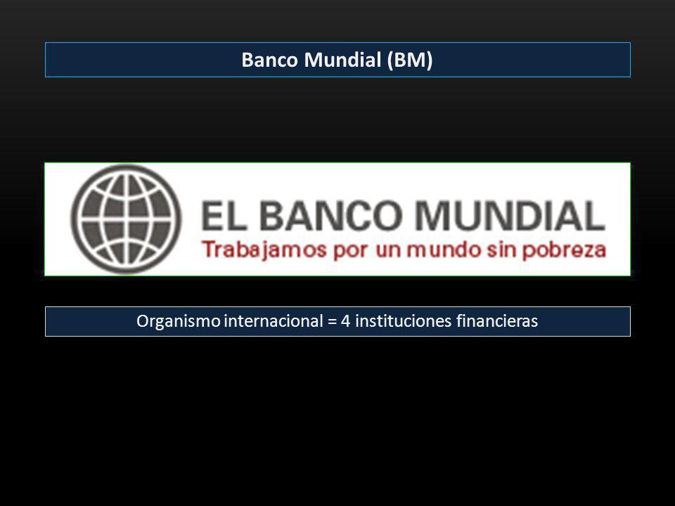 Organismo internacional = 4 instituciones financieras