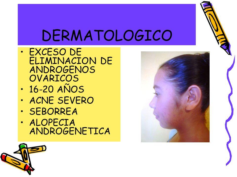 DERMATOLOGICO EXCESO DE ELIMINACION DE ANDROGENOS OVARICOS 16-20 AÑOS
