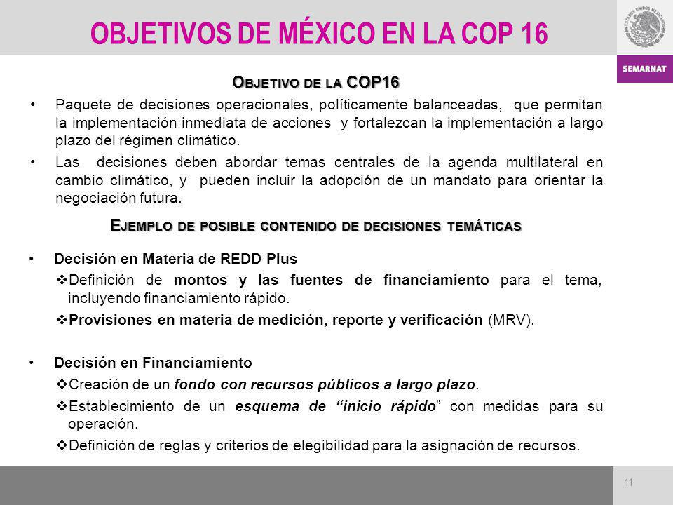 OBJETIVOS DE MÉXICO EN LA COP 16