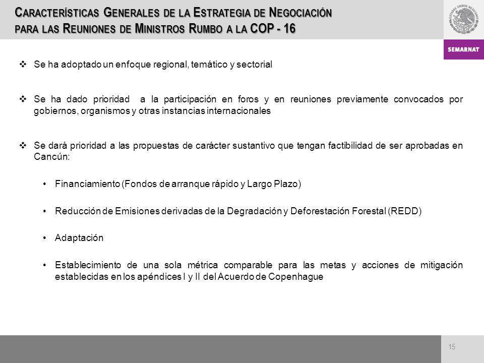 Características Generales de la Estrategia de Negociación para las Reuniones de Ministros Rumbo a la COP - 16