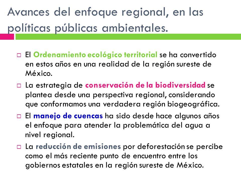 Avances del enfoque regional, en las políticas públicas ambientales.