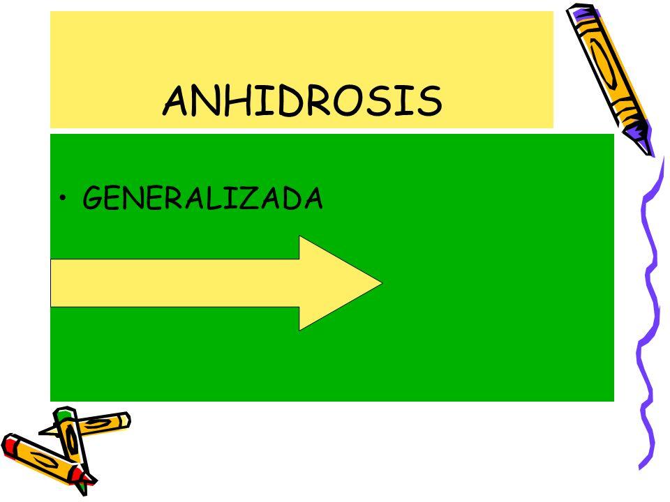 ANHIDROSIS GENERALIZADA LOCALIZADA