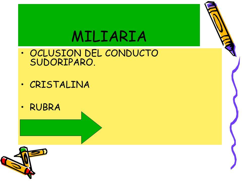 MILIARIA OCLUSION DEL CONDUCTO SUDORIPARO. CRISTALINA RUBRA PUSTULOSA
