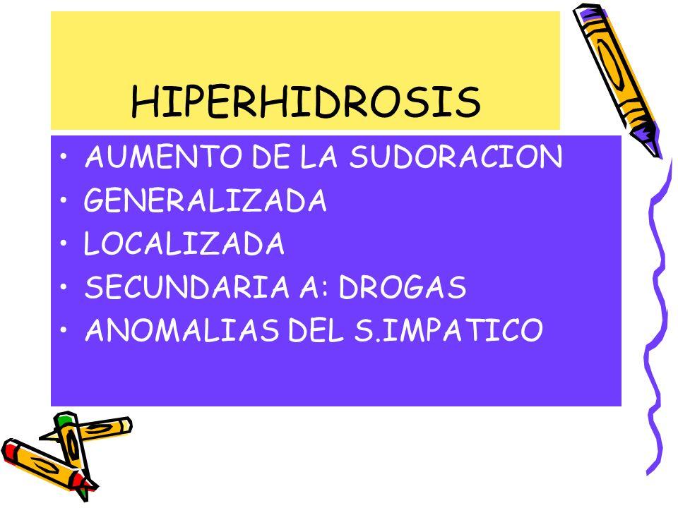 HIPERHIDROSIS AUMENTO DE LA SUDORACION GENERALIZADA LOCALIZADA