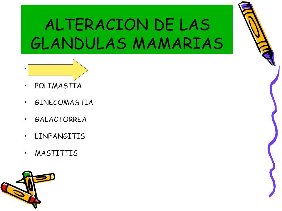 ALTERACION DE LAS GLANDULAS MAMARIAS