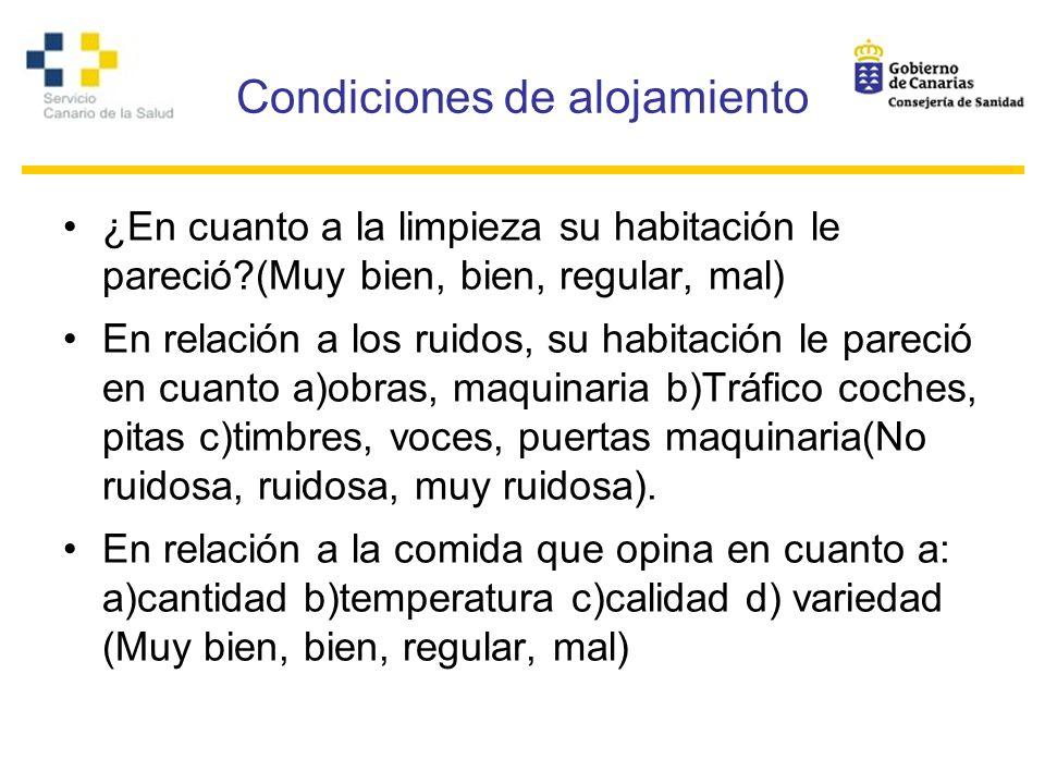 Condiciones de alojamiento