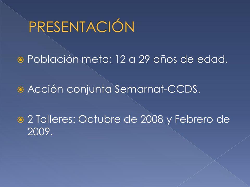 PRESENTACIÓN Población meta: 12 a 29 años de edad.