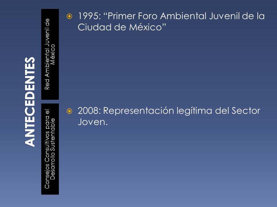 ANTECEDENTES Red Ambiental Juvenil de México. 1995: Primer Foro Ambiental Juvenil de la Ciudad de México