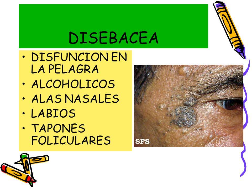 DISEBACEA DISFUNCION EN LA PELAGRA ALCOHOLICOS ALAS NASALES LABIOS