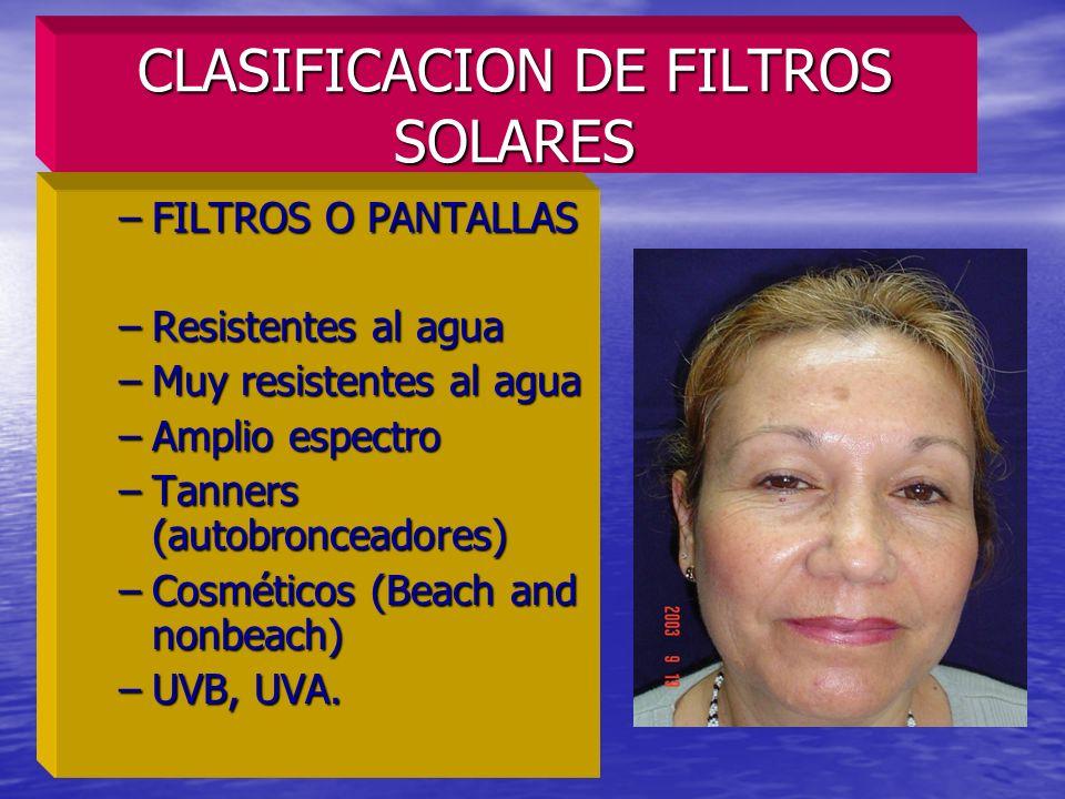 CLASIFICACION DE FILTROS SOLARES