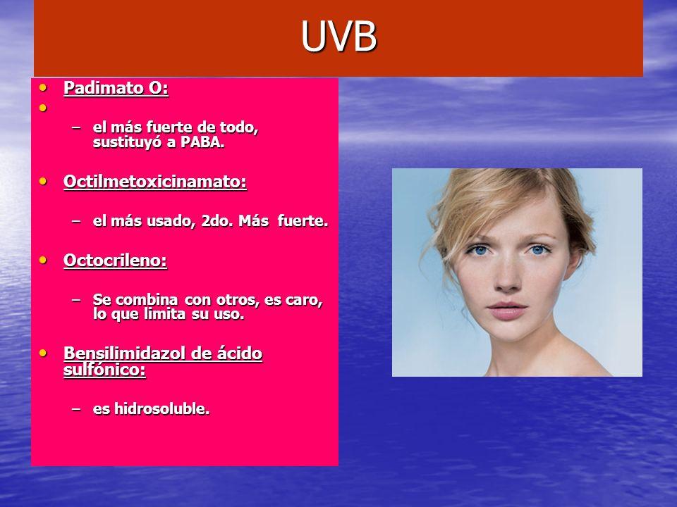 UVB Padimato O: Octilmetoxicinamato: Octocrileno:
