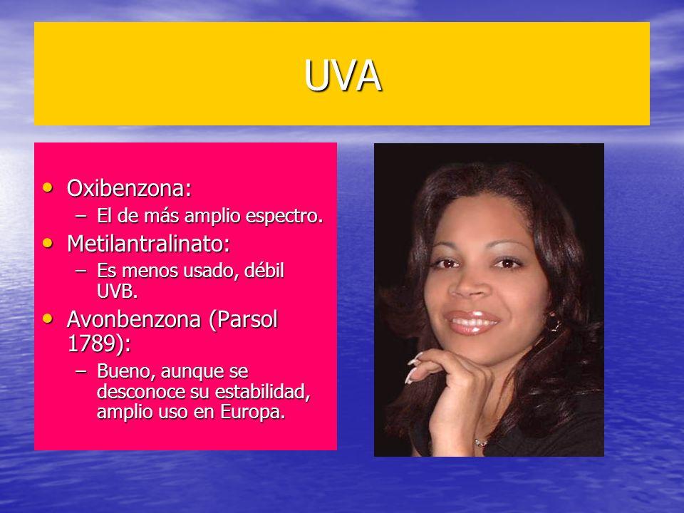 UVA Oxibenzona: Metilantralinato: Avonbenzona (Parsol 1789):