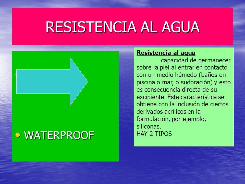 RESISTENCIA AL AGUA WATER RESISTANT WATERPROOF Resistencia al agua