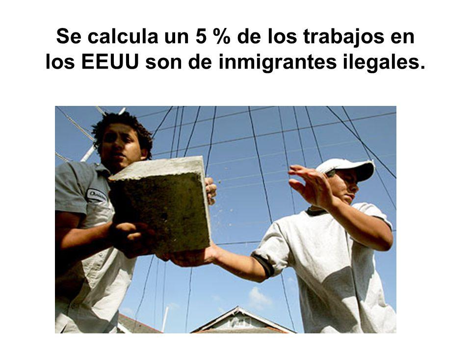 Se calcula un 5 % de los trabajos en los EEUU son de inmigrantes ilegales.