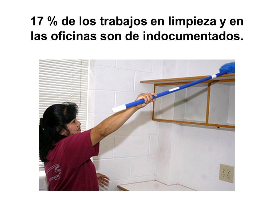 17 % de los trabajos en limpieza y en las oficinas son de indocumentados.
