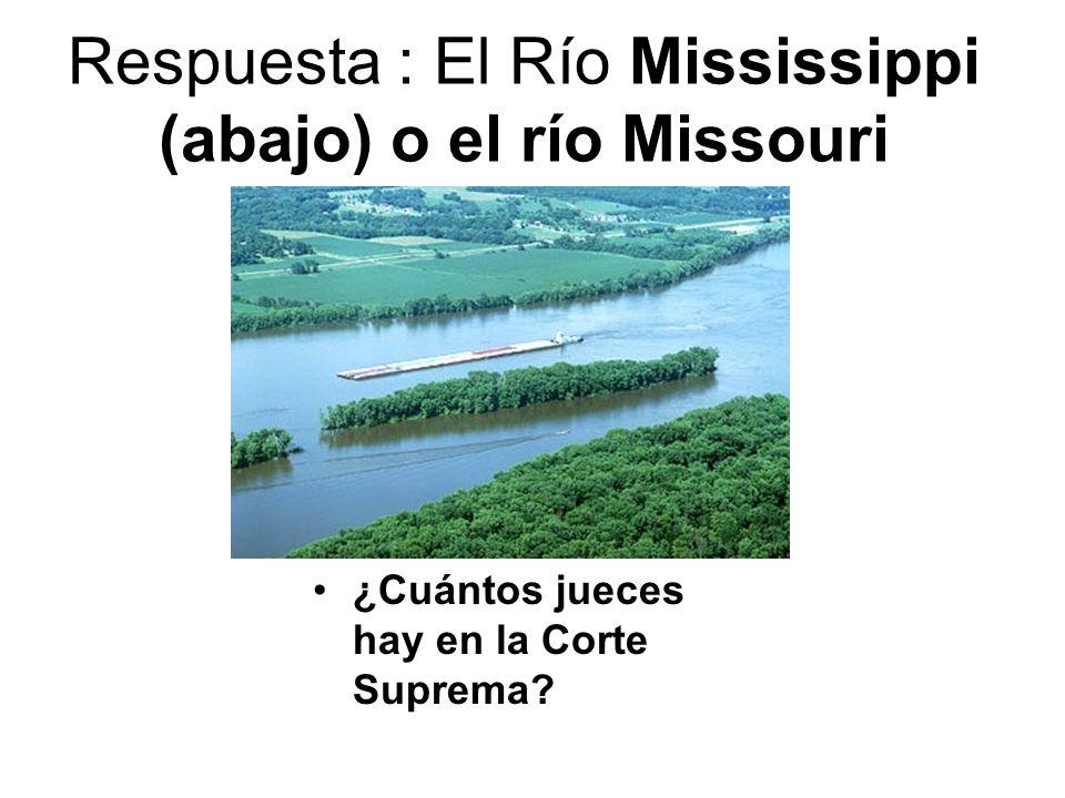 Respuesta : El Río Mississippi (abajo) o el río Missouri
