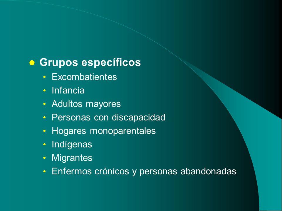 Grupos específicos Excombatientes Infancia Adultos mayores