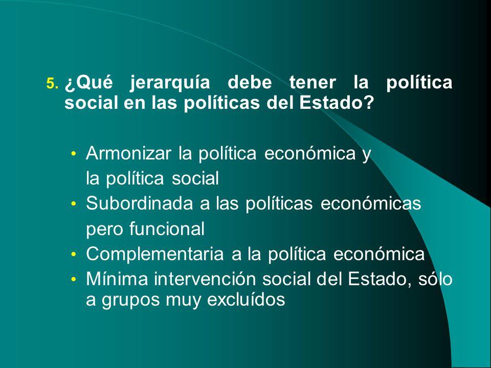¿Qué jerarquía debe tener la política social en las políticas del Estado