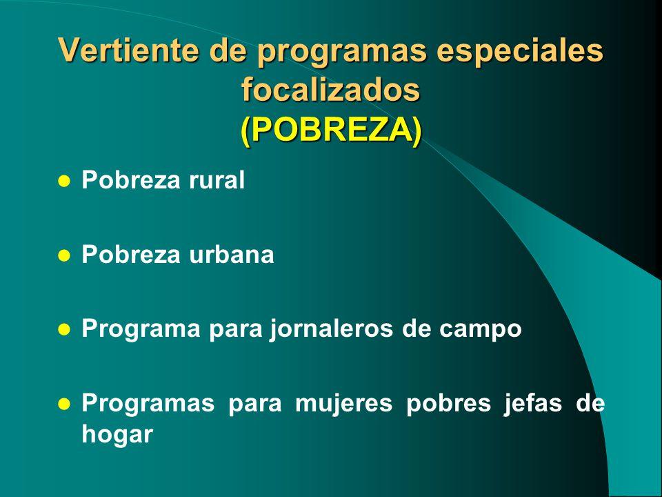 Vertiente de programas especiales focalizados (POBREZA)