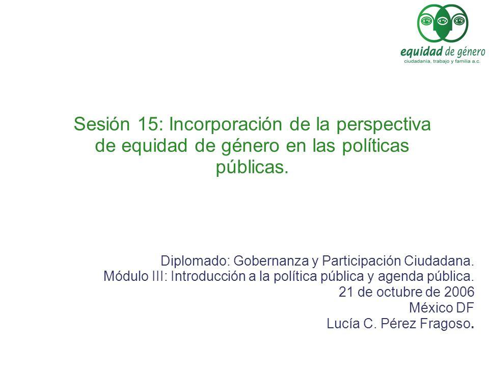 Sesión 15: Incorporación de la perspectiva de equidad de género en las políticas públicas.